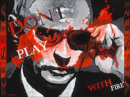 A blood-spattered Putin