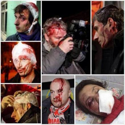 Some of the journalists in Ukraine assaulted in the last month for doing their jobs.
