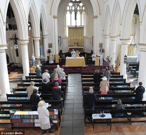 A typically sparsely attended church service in Britain