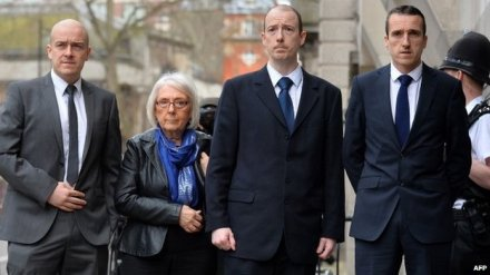 PC Blakelock's sons (left-right) Lee, Kevin and Mark, outside the court with their mother Elizabeth Johnson
