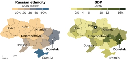 Regions of Ukraine and their demographics in terms of ethnicity and GDP