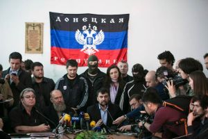 Denis Pushilin, center, head of the self-styled People's Republic of Donetsk