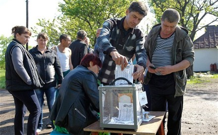 A polling booth in Donetsk region