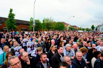 Sinn Fein anti-police action protest on the Falls Road