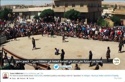 ISIL execution of an 'apostate' in Aleppo